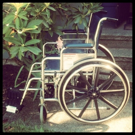 My husband scored a free wheelchair. We haven't used it yet. It's parked in the garden.