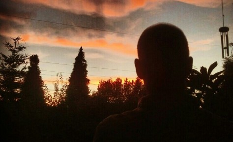 Hubby and sunset.