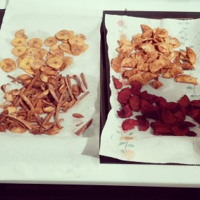 No nuts or oats? My new snacks: plantain, parsnip, sweet potato and beet chips.
