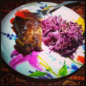 Grass-fed, pastured beef sirloin and braised red cabbage from Nom Nom Paleo (click image for recipe).